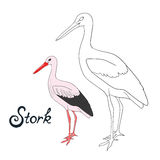 Educational game coloring book stork bird vector. Educational game coloring book stork bird cartoon doodle hand drawn vector illustration Royalty Free Stock Images