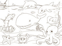 Educational game coloring book underwater life. Animals vector illustration Stock Photos