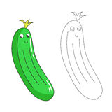 Educational game connect dots draw cucumber vector Stock Image