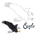 Educational game connect dots draw eagle bird Royalty Free Stock Images