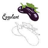 Educational game connect dots draw eggplant vector Stock Photos