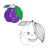 Educational game connect dots draw plum vector Royalty Free Stock Images