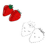 Educational game connect dots draw strawberry Royalty Free Stock Photography