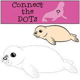 Educational game: Connect the dots. Little white-coated baby fur. Educational game: Connect the dots. Little cute white-coated baby fur seal smiles Stock Image