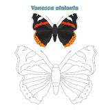 Educational game connect  dots to draw butterfly Stock Photo