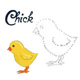 Educational game connect dots to draw chick bird Royalty Free Stock Images