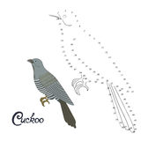 Educational game connect dots to draw cuckoo bird Stock Photo