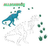 Educational game connect the dots to draw dinosaur Royalty Free Stock Images