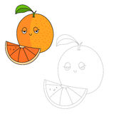 Educational game connect dots to draw orange Stock Images