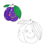 Educational game connect dots to draw plum vector Royalty Free Stock Images