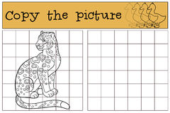 Educational game: Copy the picture. Cute spotted jaguar smiles. Royalty Free Stock Photo