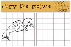 Educational game: Copy the picture. Little cute baby seal sleeps Royalty Free Stock Photo