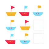 Educational game draw the fish in blank square. Educational game for children draw the fish in blank square hand drawn cartoon doodle vector illustration Royalty Free Stock Photography