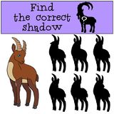 Educational game: Find the correct shadow. Cute ibex smiles. Educational game: Find the correct shadow. Cute ibex stands and smiles Stock Image