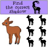 Educational game: Find the correct shadow. Little cute baby ibex. Smiles Royalty Free Stock Image