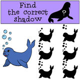 Educational game: Find the correct shadow. Little cute baby seal. Educational game: Find the correct shadow. Little cute baby fur seal Stock Photos