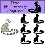 Educational game: Find the correct shadow. Little cute lemur. Educational game: Find the correct shadow. Little cute lemur smiles stock illustration