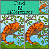Educational game: Find differences. Cute iguana sits on the tree. Branch and smiles Stock Images
