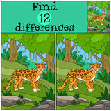 Educational game: Find differences. Cute jaguar in the forest. Stock Photo