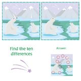 Educational game. Find differences. Mother polar bear with her little cute babie. Educational game. Find differences. Mother polar bear stands on the snow with Royalty Free Stock Photo