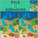 Educational game: Find differences. Two little cute narwhals swi. M underwater and smile vector illustration