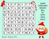 Free Educational Game For Children. Word Search Puzzle Kids Activity. New Year And Christmas Theme Learning Vocabulary Royalty Free Stock Images - 130880239