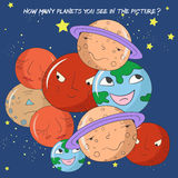 Educational  game how many planets do you see Stock Images