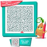 Maze  what is pictured clover. Educational game for kids and adults development of logic, iq. Task game for children pass the maze and guess what is pictured Stock Photo