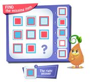 Find the missing item square iq. Educational game for kids and adults, puzzle. development of logic, iq. Task game find the missing item Royalty Free Stock Images