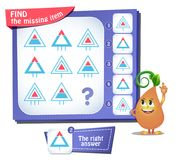 Find the missing item triangle iq. Educational game for kids and adults, puzzle. development of logic, iq. Task game find the missing item Stock Images