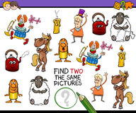 Educational game for kids. Cartoon Illustration of Find Two Exactly the Same Pictures Educational Activity for Children Royalty Free Stock Photo