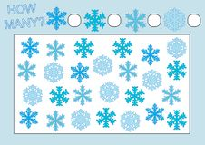 Educational game for kids. Count how many snowflakes. Royalty Free Illustration