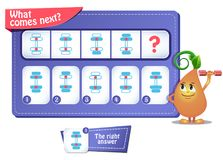 Iq comes next 10. Educational game for kids. development of logic, iq. Task game  what comes next Royalty Free Stock Photography