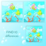 Educational game for kids  Find 10 differences. Educational game for kids, Find 10 differences . Funny fish swim on a blue background with bubbles. Vector Stock Photo