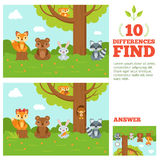 Educational game for kids with funny forest mascots. Vector cartoon illustration with differences elements. Cartoon character animal on game poster find Stock Photos