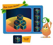 Game educational 8 blocks. Educational game for kids, puzzle. development of spatial thinking in children suitable both for kids and adults. Task game How many royalty free illustration