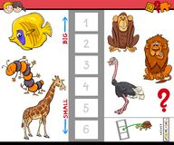 Educational game with large and small animals Royalty Free Stock Image