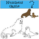 Educational game: Numbers game with contour. Mother seal with ba. Educational game: Numbers game with contour. Mother fur seal with her little cute baby vector illustration