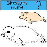 Educational game: Numbers game with contour. White-coated baby f Stock Image