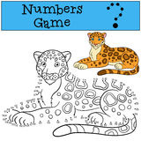 Educational game: Numbers game. Cute spotted jaguar smiles. Stock Photos