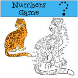 Educational game: Numbers game. Cute spotted jaguar smiles. Stock Images