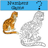 Educational game: Numbers game. Cute spotted jaguar smiles. Stock Photography