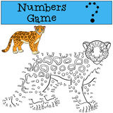 Educational game: Numbers game. Cute spotted jaguar smiles. Royalty Free Stock Image