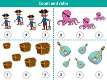 Educational game for preschool children Count and color the circle with correct answer. Set of cartoon pirate characters. Vector vector illustration