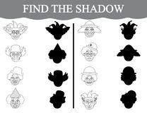 Educational game for preschool children. Find the shadows of clown's faces and color them. Educational game for preschool children. Find the shadows of Stock Photos