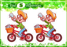 Educational game for preschool kids, find the differences. Cute boy with newspaper. Cartoon vector illustration Royalty Free Stock Images
