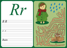 Educational game to learn handwriting with easy gaming level for kids R - rain Royalty Free Stock Photography