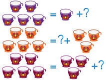 Educational games for children, on the composition of the five, example with cups. Stock Photography