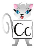 Educational games for children English. Cat with letters Cc. Educational games for children English. Cat with letters Cc, on a white background Royalty Free Stock Image