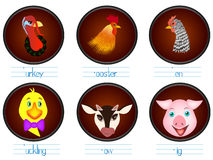 Educational games for children English. Look name, write the letters. Portraits of animals. Stock Images
